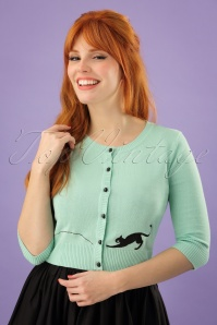 50s Jessie Kitty Cat Cardigan in Mint