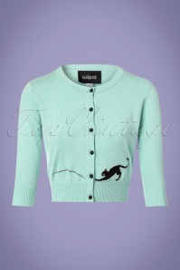 Collectif Clothing Jessie Kitty Cat Cardigan in Mint 22534 20171122 0002w