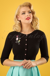 50s Lucy Atomic Cocktails Cardigan in Black