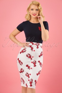 50s Bettina Rock Lobster Pencil Skirt in White and Red