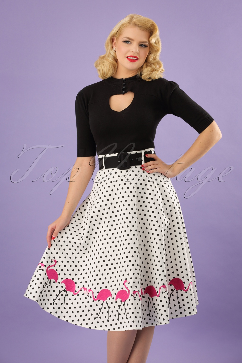Retro Skirts: Vintage, Pencil, Circle, & Plus Sizes 50s Fancy Flamingo Swing Skirt in White £51.08 AT vintagedancer.com