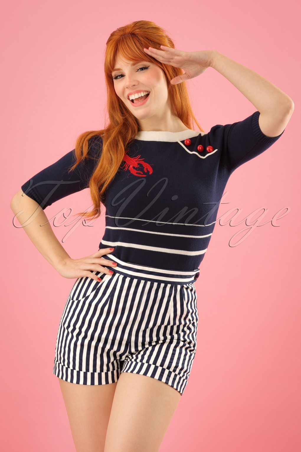 Vintage High Waisted Shorts | 1950s Pinup, Rockabilly Shorts 50s Ayana Striped Shorts in Navy and White £37.90 AT vintagedancer.com