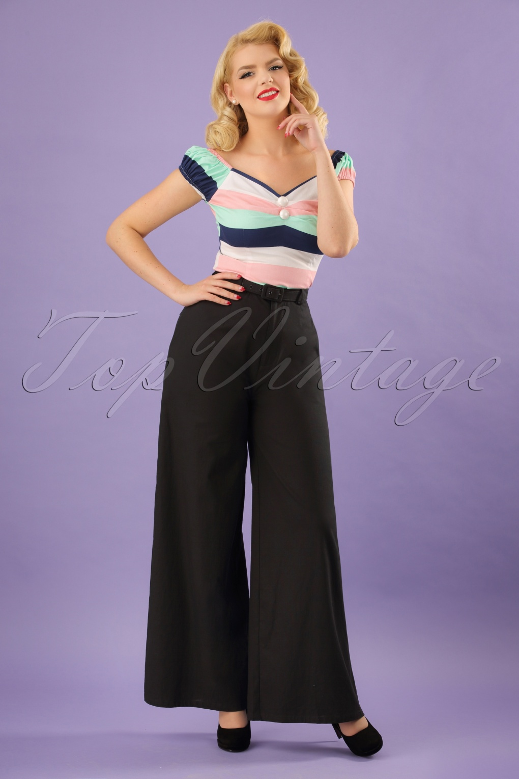 Vintage High Waisted Trousers, Sailor Pants, Jeans 40s Vicky Trousers in Black £52.91 AT vintagedancer.com