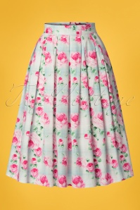 50s Natalie Roses Swing Skirt in Mint