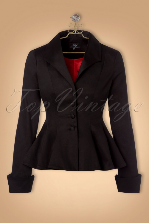 Vintage Coats & Jackets | Retro Coats and Jackets The Divine Peplum Jacket in Ink Black £120.92 AT vintagedancer.com