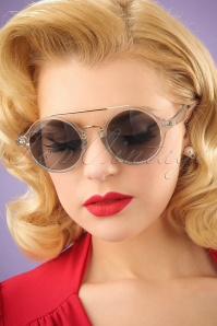 70s Vintage Round Sunglasses in Transparent