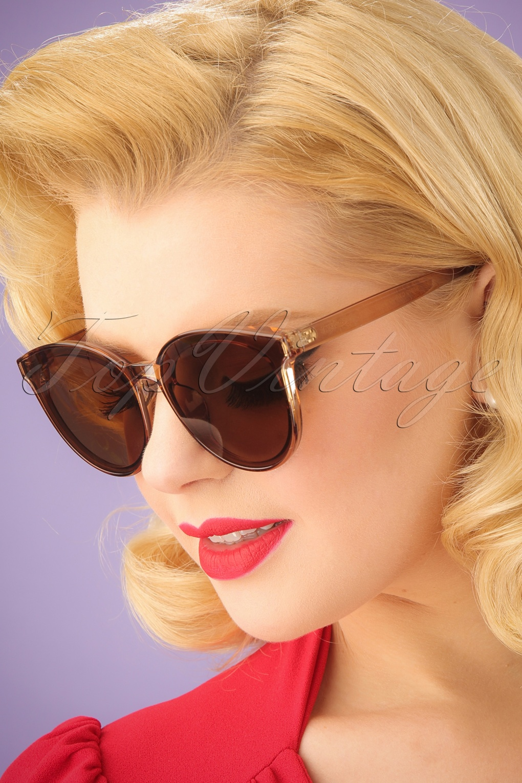 Unique Retro Vintage Style Sunglasses & Eyeglasses 60s Revival Transparent Sunglasses in Brown £25.88 AT vintagedancer.com