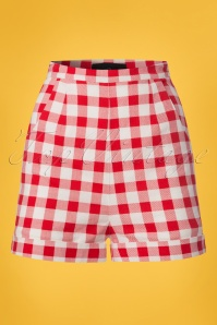 50s Ayana Vintage Gingham Shorts in Red