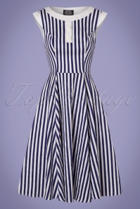 Hearts and Roses Blue and White Striped Swing Dress 102 59 24550 20180224 0004V