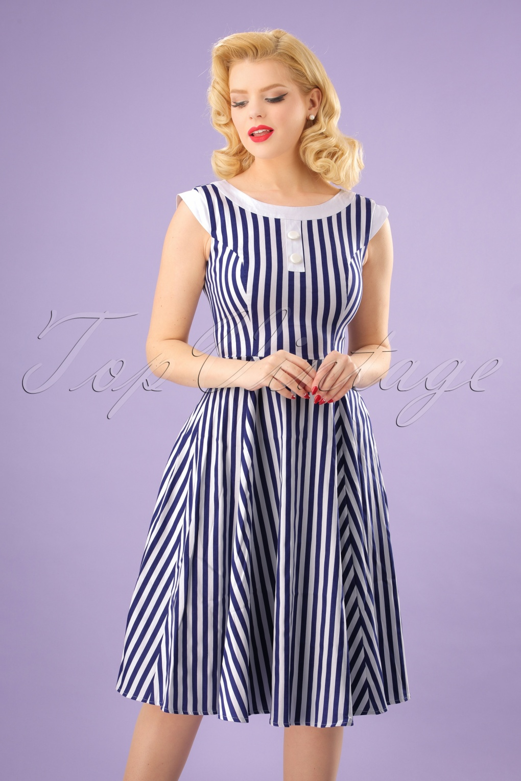 Sailor Dresses, Nautical Dress, Pin Up & WW2 Dresses 50s Hepburn Stripes Swing Dress in Blue and White £46.39 AT vintagedancer.com