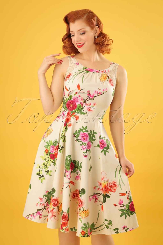 Vintage Tea Dresses, Floral Tea Dresses, Tea Length Dresses 50s Flavia Floral Swing Dress in Cream £43.44 AT vintagedancer.com
