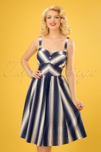 50s Kayla Nautical Striped Dress in Navy