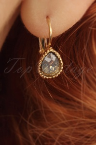 50s Grey Chrystal Drop Earrings in Gold