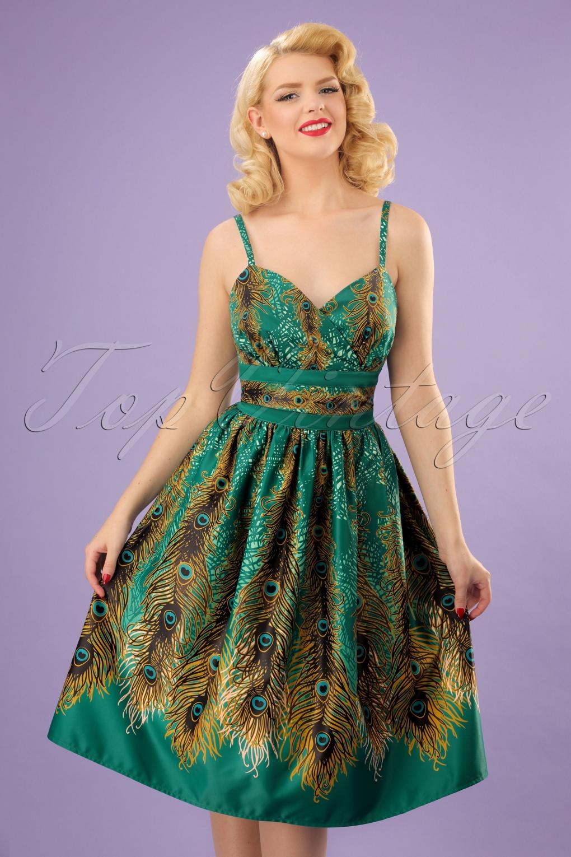 50s Hattie Peacock Evening Dress In Green