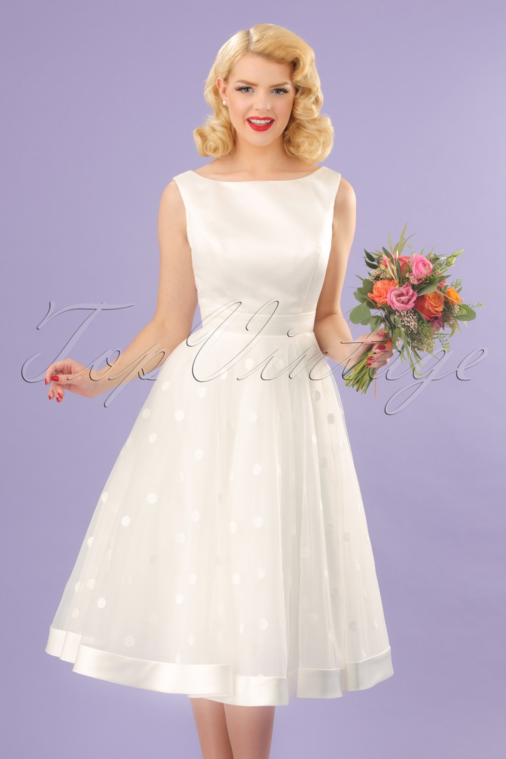 Vintage Inspired Wedding Dress | Vintage Style Wedding Dresses 50s Meagan Polkadot Bridal Gown in Ivory White £345.48 AT vintagedancer.com