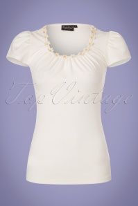 50s Debbie Daisy Top in Ivory