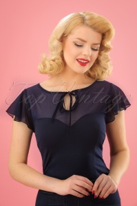 Vixen 50s Pam Mesh Top in Navy