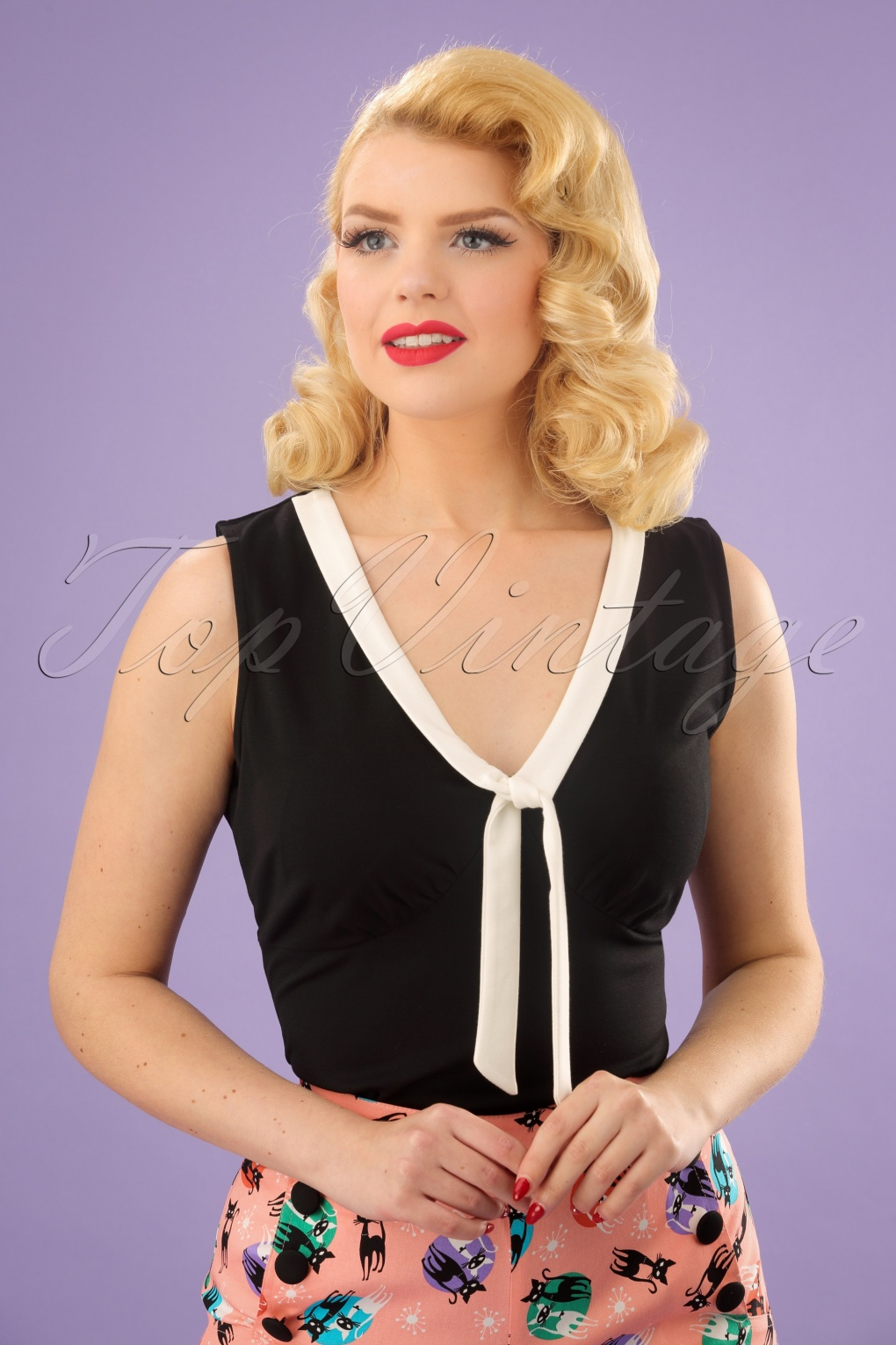 50s Nellie Tie Top In Black And Ivory