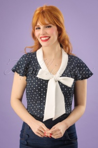 50s Susan Nautical Blouse in Navy