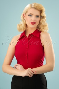 50s Jasmine Sleeveless Blouse in Red