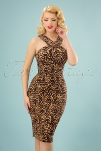 50s Lauren Pencil Dress in Leopard