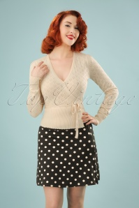 40s Wrap Heart Ajour Top in Cream