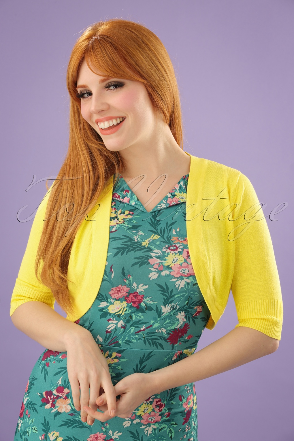 1950s Sweaters, 50s Cardigans, Twin Sweater Sets 50s Hudson Bolero in Yellow £26.27 AT vintagedancer.com