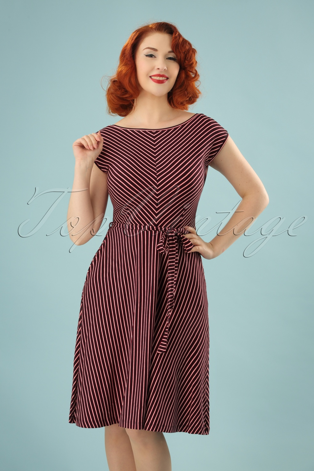 60s Plus Size Retro Dresses, Clothing, Costumes | 70s Dresses 70s Grace Slim Shady Swing Dress in Ruby Red £70.56 AT vintagedancer.com