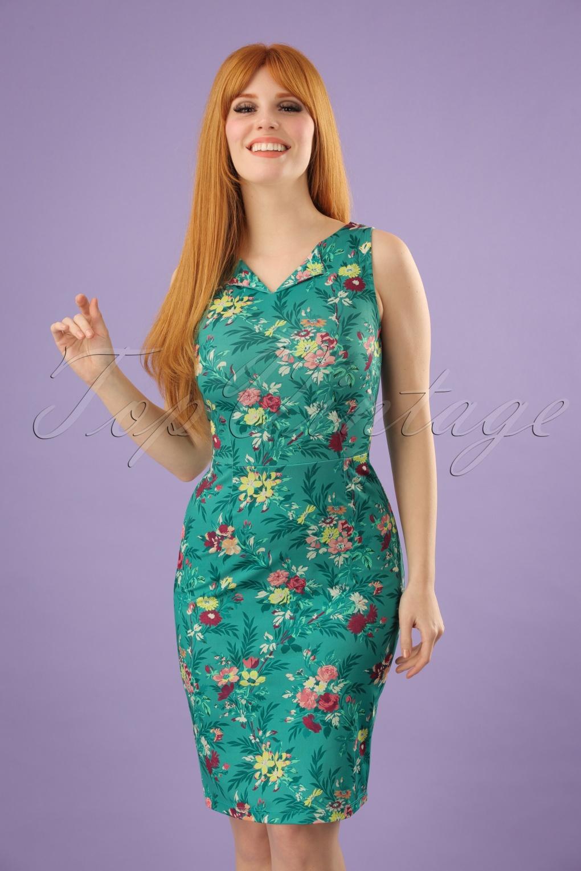 1960s Dresses: New 60s Style Dresses – Jackie O to Mod 60s Audrey Woodrose Dress in Emerald Blue £79.38 AT vintagedancer.com