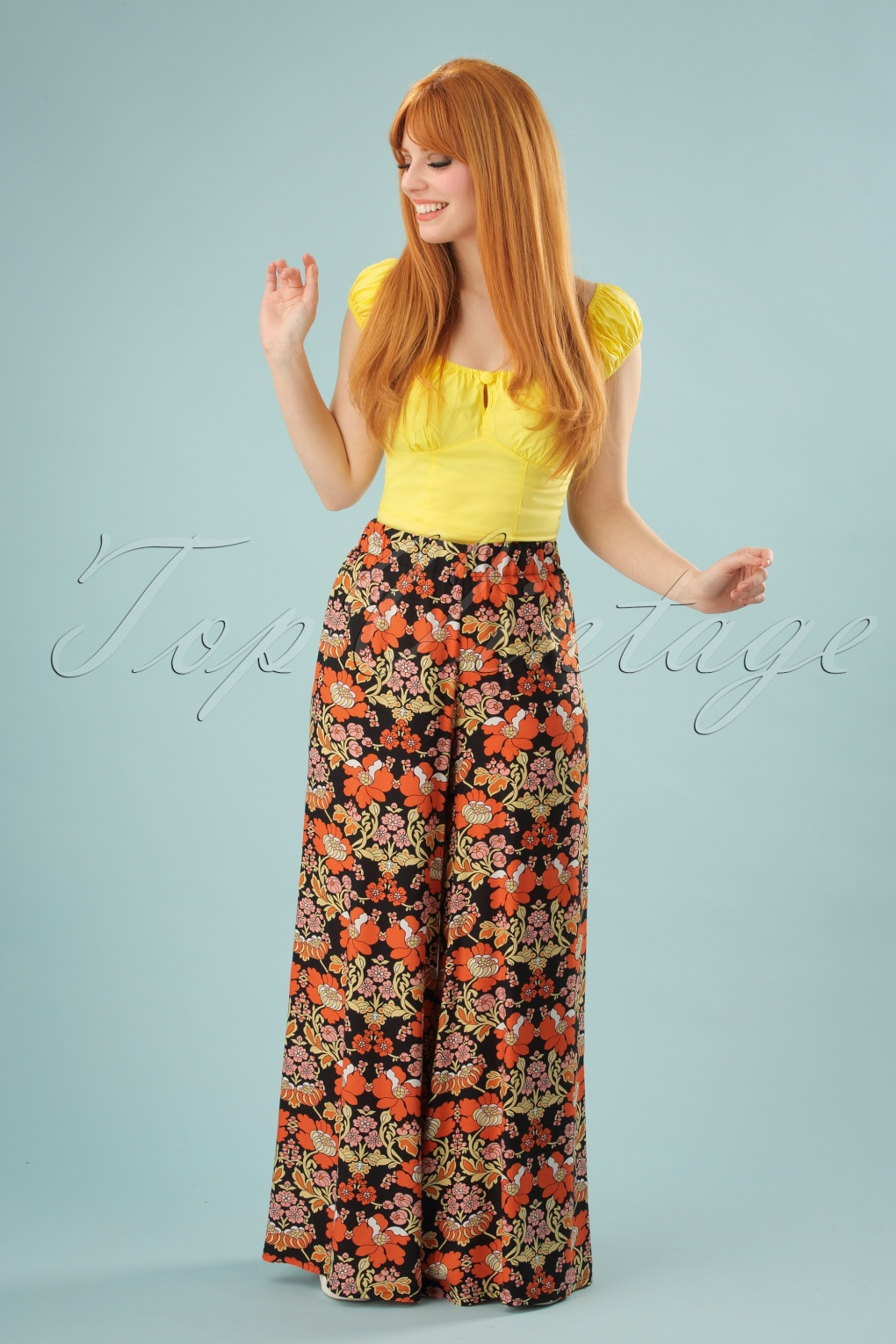 Vintage High Waisted Trousers, Sailor Pants, Jeans 70s Dont Hold Back Flared Pants in Black and Orange £67.91 AT vintagedancer.com