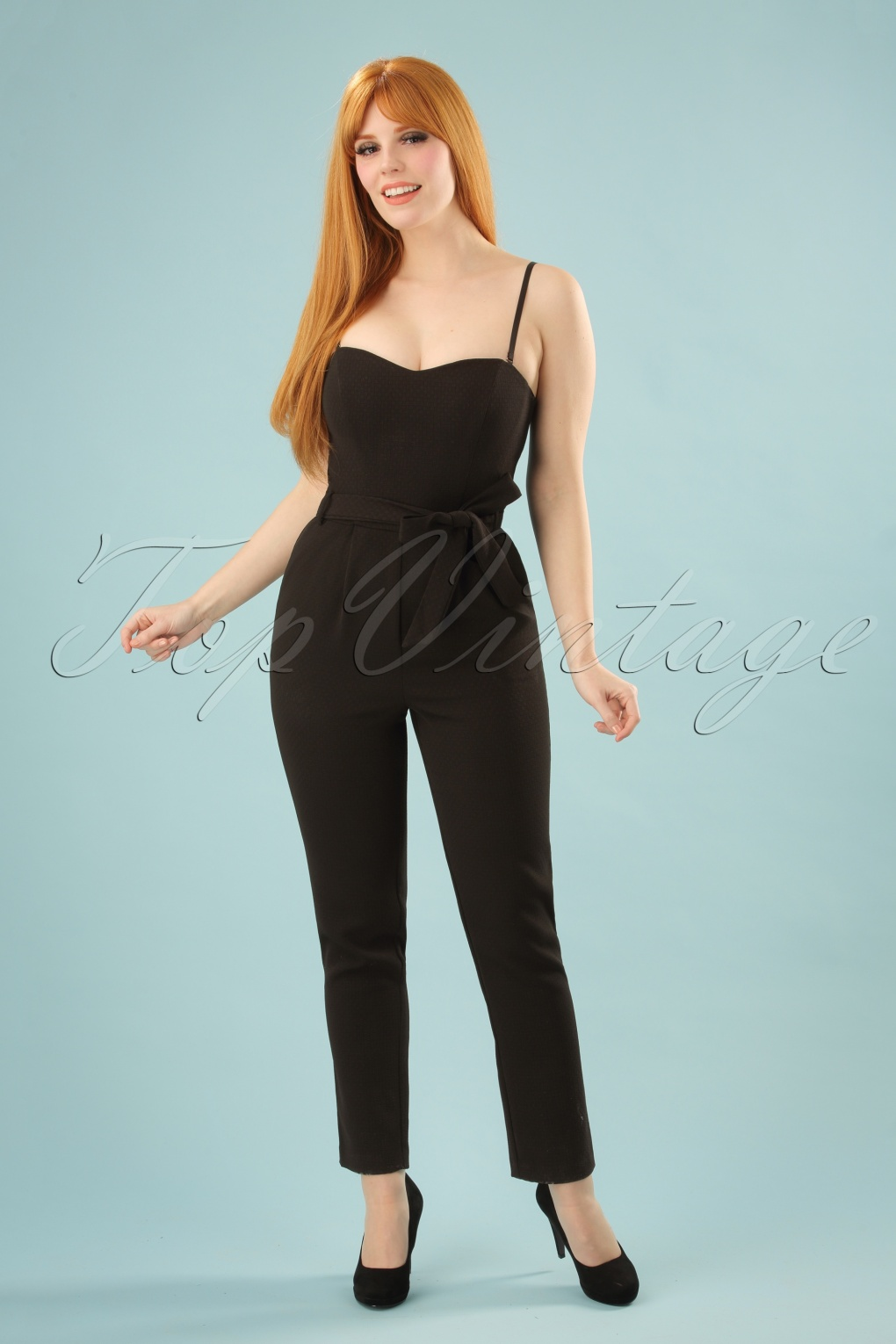 Vintage High Waisted Trousers, Sailor Pants, Jeans 70s Jessica Rabbit Who Jumpsuit in Black £104.98 AT vintagedancer.com