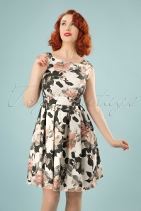 50s Faya Floral Swing Dress in Cream