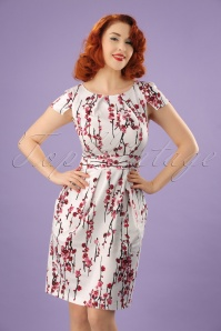 60s Cherry Blossom Tulip Dress in Ivory
