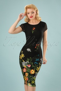60s Fiora Field Flower Pencil Dress in Black