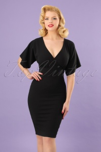 Vintage Chic Cross Bust Crepe Pencil Dress in Black 100 10 24519 20180216 0017MODELW