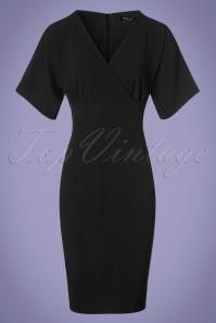 Vintage Chic Cross Bust Crepe Pencil Dress in Black 100 10 24519 20180216 0015w
