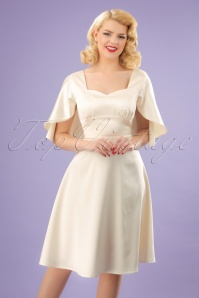 30s Bonnie Satin Cape Dress in Ivory