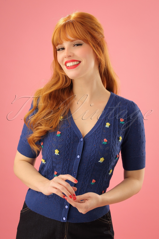 Vintage & Retro Shirts, Halter Tops, Blouses 50s Cupido V Cardigan in True Blue £84.40 AT vintagedancer.com