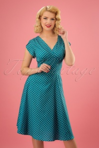 Vixen Tabby Polka Teal Dress 102 39 23214 20180228 1W