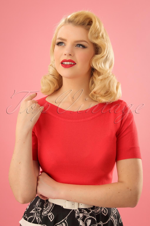 Vintage & Retro Shirts, Halter Tops, Blouses 50s Audrey Cottonclub Top in Poppy Red £53.29 AT vintagedancer.com