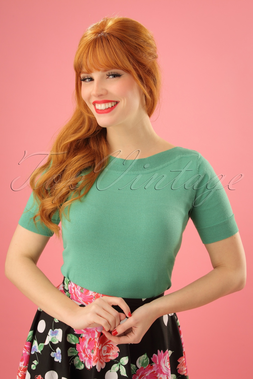 Vintage & Retro Shirts, Halter Tops, Blouses 50s Audrey Cottonclub Top in Mint Green £53.29 AT vintagedancer.com
