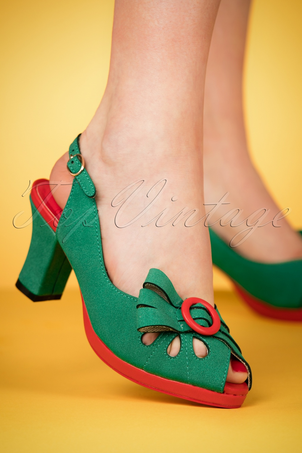1940s Style Shoes, 40s Shoes 40s Marie Deville Slingback Peeptoe Pumps in Green £49.24 AT vintagedancer.com