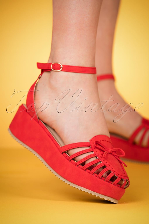60s Shoes, Boots | 70s Shoes, Platforms, Boots 60s Alabama Angie Platform Sandals in Red £44.40 AT vintagedancer.com