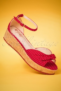 50s Riri West Polkadot Platform Sandals in Red