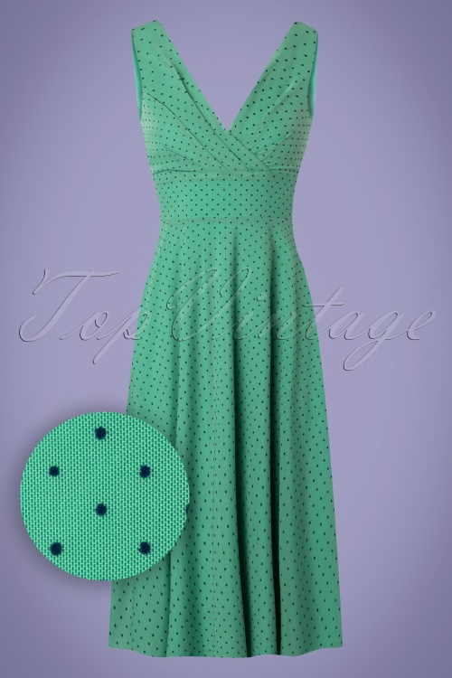 classic styles shades of attractive price 60s Ginger Pepita Dress in Opal Green