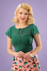 50s Pam Mesh Top in Emerald Green