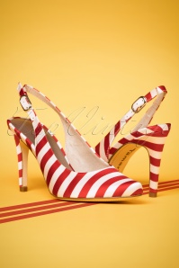 Chili Stripes Slingback Pumps Années 50 en Blanc