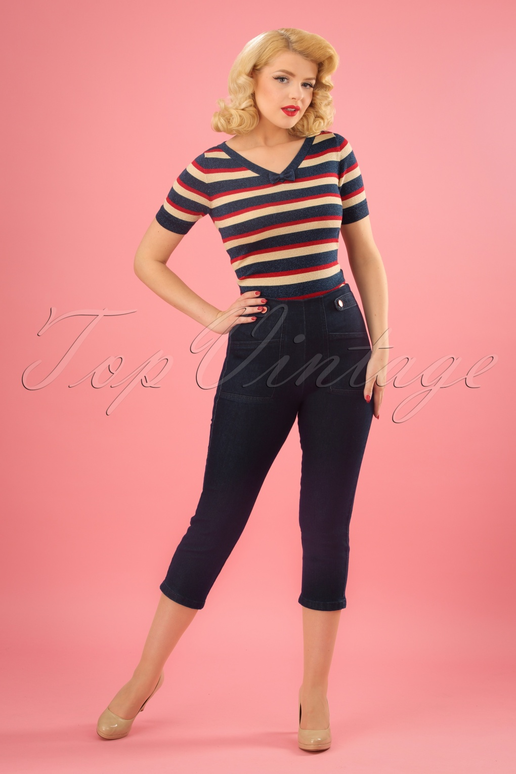 1950s Pants & Jeans- High Waist, Wide Leg, Capri, Pedal Pushers 50s Susie Capri Pants in Denim £33.73 AT vintagedancer.com