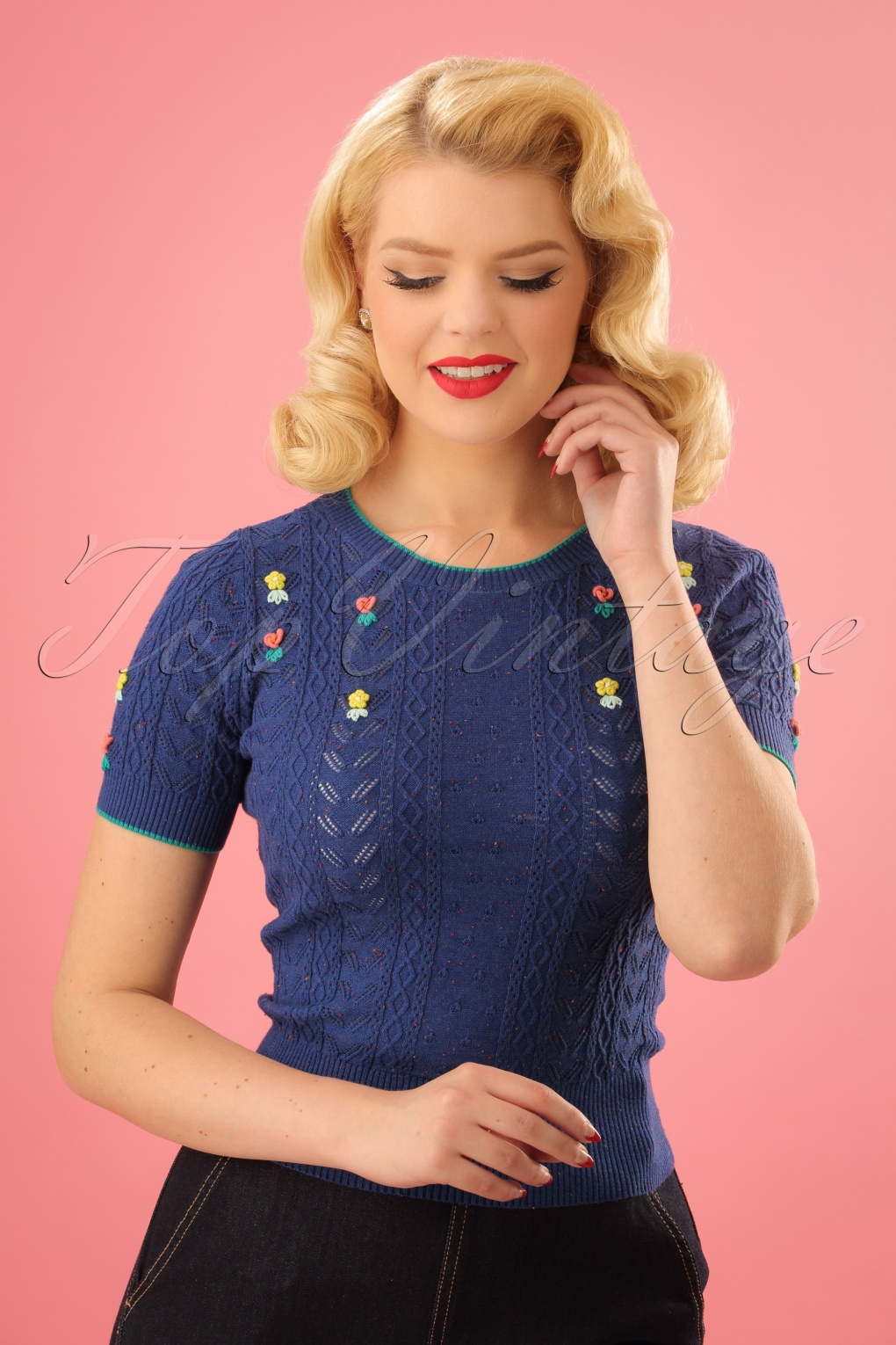 Vintage Sweaters: Cable Knit, Fair Isle Cardigans & Sweaters 50s Cupido Knit Top in True Blue £77.78 AT vintagedancer.com