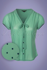 King Louie Pepita Bow Blouse in Opal Green 23314 20180122 0002W!